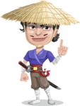 Samurai with Straw Hat Cartoon Vector Character AKA Akechi - Attention