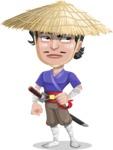 Samurai with Straw Hat Cartoon Vector Character AKA Akechi - Roll Eyes