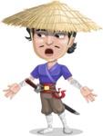 Samurai with Straw Hat Cartoon Vector Character AKA Akechi - Lost
