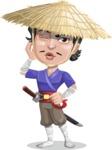 Samurai with Straw Hat Cartoon Vector Character AKA Akechi - Duckface