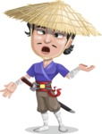 Samurai with Straw Hat Cartoon Vector Character AKA Akechi - Confused