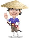 Samurai with Straw Hat Cartoon Vector Character AKA Akechi - Goodbye