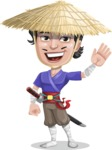 Samurai with Straw Hat Cartoon Vector Character AKA Akechi - Hello