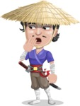Samurai with Straw Hat Cartoon Vector Character AKA Akechi - Oops