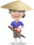 Samurai with Straw Hat Cartoon Vector Character AKA Akechi - Patient