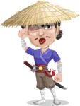 Samurai with Straw Hat Cartoon Vector Character AKA Akechi - Making face