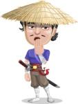 Samurai with Straw Hat Cartoon Vector Character AKA Akechi - Bored