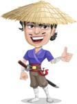 Samurai with Straw Hat Cartoon Vector Character AKA Akechi - Thumbs up