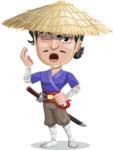 Samurai with Straw Hat Cartoon Vector Character AKA Akechi - Bored 2