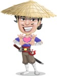 Samurai with Straw Hat Cartoon Vector Character AKA Akechi - Show Love
