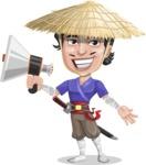 Samurai with Straw Hat Cartoon Vector Character AKA Akechi - Loudspeaker