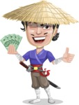Samurai with Straw Hat Cartoon Vector Character AKA Akechi - Show me the money