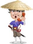 Samurai with Straw Hat Cartoon Vector Character AKA Akechi - Support