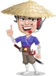 Samurai with Straw Hat Cartoon Vector Character AKA Akechi - Support 2