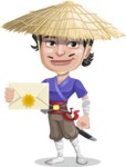 Samurai with Straw Hat Cartoon Vector Character AKA Akechi - Letter