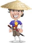 Samurai with Straw Hat Cartoon Vector Character AKA Akechi - Ribbon