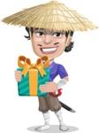 Samurai with Straw Hat Cartoon Vector Character AKA Akechi - Gift