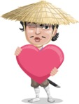 Samurai with Straw Hat Cartoon Vector Character AKA Akechi - Love