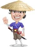 Samurai with Straw Hat Cartoon Vector Character AKA Akechi - Wave