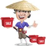 Samurai with Straw Hat Cartoon Vector Character AKA Akechi - Sale
