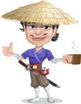 Samurai with Straw Hat Cartoon Vector Character AKA Akechi - Coffee