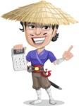 Samurai with Straw Hat Cartoon Vector Character AKA Akechi - Calculator