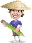 Samurai with Straw Hat Cartoon Vector Character AKA Akechi - Pencil