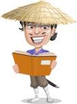 Samurai with Straw Hat Cartoon Vector Character AKA Akechi - Book 1