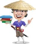 Samurai with Straw Hat Cartoon Vector Character AKA Akechi - Book 2