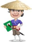 Samurai with Straw Hat Cartoon Vector Character AKA Akechi - Book 3