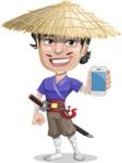 Samurai with Straw Hat Cartoon Vector Character AKA Akechi - iPhone