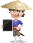 Samurai with Straw Hat Cartoon Vector Character AKA Akechi - iPad 1