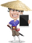 Samurai with Straw Hat Cartoon Vector Character AKA Akechi - iPad 2