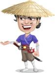 Samurai with Straw Hat Cartoon Vector Character AKA Akechi - Showcase