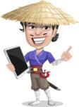 Samurai with Straw Hat Cartoon Vector Character AKA Akechi - iPad 3