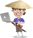 Samurai with Straw Hat Cartoon Vector Character AKA Akechi - Laptop 1