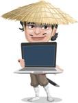 Samurai with Straw Hat Cartoon Vector Character AKA Akechi - Laptop 2