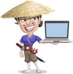 Samurai with Straw Hat Cartoon Vector Character AKA Akechi - Laptop 3