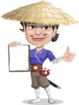 Samurai with Straw Hat Cartoon Vector Character AKA Akechi - Notepad 1