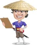 Samurai with Straw Hat Cartoon Vector Character AKA Akechi - Notepad 2