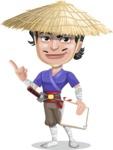 Samurai with Straw Hat Cartoon Vector Character AKA Akechi - Notepad 3