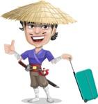 Samurai with Straw Hat Cartoon Vector Character AKA Akechi - Travel