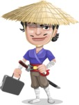 Samurai with Straw Hat Cartoon Vector Character AKA Akechi - Briefcase 1