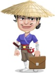 Samurai with Straw Hat Cartoon Vector Character AKA Akechi - Briefcase 2