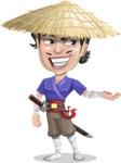 Samurai with Straw Hat Cartoon Vector Character AKA Akechi - Showcase 2