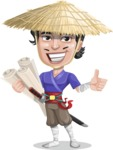 Samurai with Straw Hat Cartoon Vector Character AKA Akechi - Plans