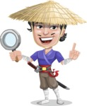 Samurai with Straw Hat Cartoon Vector Character AKA Akechi - Search