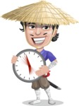 Samurai with Straw Hat Cartoon Vector Character AKA Akechi - Time Is Yours