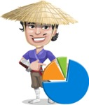 Samurai with Straw Hat Cartoon Vector Character AKA Akechi - Chart