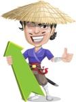 Samurai with Straw Hat Cartoon Vector Character AKA Akechi - Pointer 1
